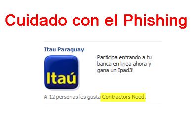 Nuevo caso de Phishing  que involucra a Itau en Facebook